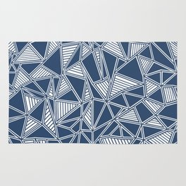 Abstract Outline Lines Navy Rug