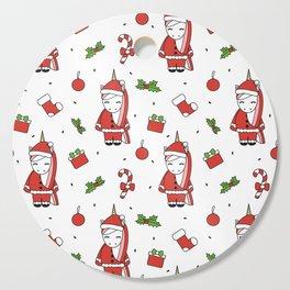cute cartoon christmas pattern illustration with santa unicorns, gift boxes, socks, mistletoe Cutting Board