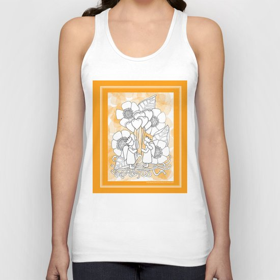 Kids with Hearts of Gold A Zentangle Illustration for Children Unisex Tank Top