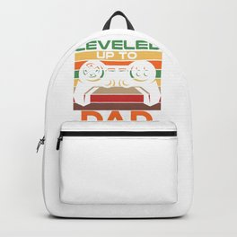 Dad Gift Leveled Up to Dad Fun Gamer Baby Announcement Gift Backpack