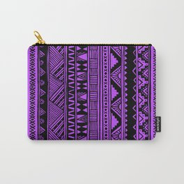 Black Purple Violet Cute Girly Urban Tribal Aztec Andes Abstract Geometric Pattern Carry-All Pouch