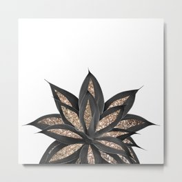 Gray Black Agave with Gold Glitter #2 #shiny #tropical #decor #art #society6 Metal Print