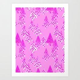 Modern Flower Christmas Trees, Orchid Pink Art Print