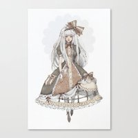 dress Canvas Prints featuring Dress by Loputyn