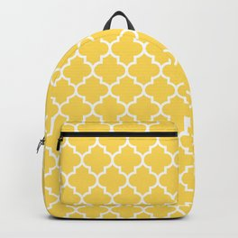 White Moroccan Quatrefoil On Mustard Yellow Backpack