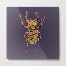 Golden stag beetle silhouette Metal Print