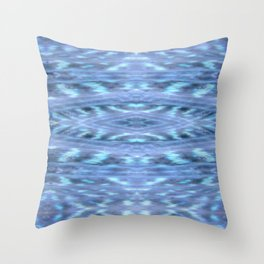 SoCal Blue Ikat Pattern Blue Print Throw Pillow