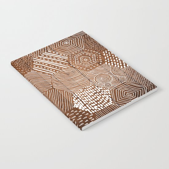 hexagon doodle patterns on wood Notebook