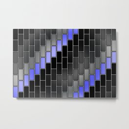 BRICK WALL #2 (Black, Grays & Light Blue) Metal Print