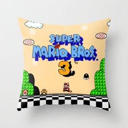 Super Mar!o Bros. 3 title screen || vintage video game Throw Pillow