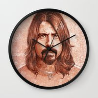 dave grohl Wall Clocks featuring Dave Grohl by Renato Cunha