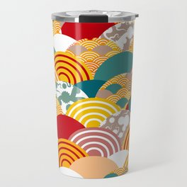Nature background with japanese sakura flower, orange red pink Cherry, wave circle pattern Travel Mug