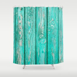 Shabby Chic Turquoise Fence Panel Repeat Pattern Shower Curtain