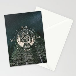 Mountains Compass Milky Way Woods Gold Stationery Cards