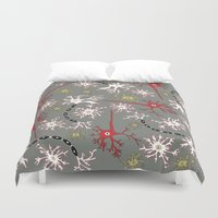 nerd Duvet Covers featuring Neuron Nerd by Angela Stevens