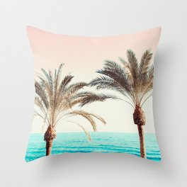 Modern California Vibes pink sky blue seascape tropical palm tree beach photography Throw Pillow
