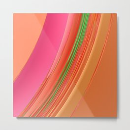 Peach Apricot Mango Bold Stripes Metal Print