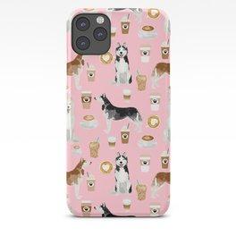 Husky siberian huskies coffee cute dog art drinks latte dogs pet portrait pattern iPhone Case