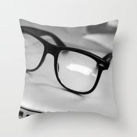 geek Throw Pillows featuring Geek by Zack Skeeters