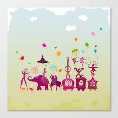 colorful circus carnival traveling in one row during daylight Canvas Print
