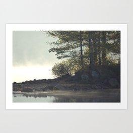 Morning fog on the lake Art Print