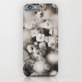 Gypsophila White Small Floral Poster - Botanic Nature Photography - Grey iPhone Case