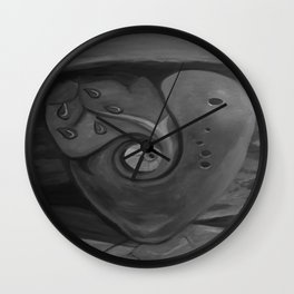 Heart by Lu, black-and-white Wall Clock