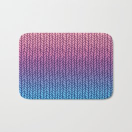 Chunky Knit Pattern in Pink, Blue & Purple Bath Mat