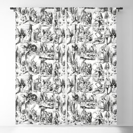 Alice in Wonderland | Toile de Jouy | Black and White Blackout Curtain