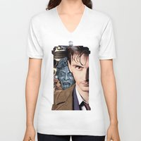 doctor who V-neck T-shirts featuring Doctor Who by SB Art Productions