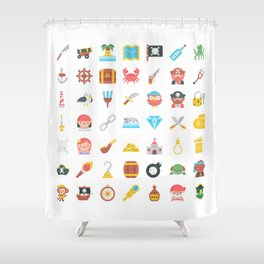 CUTE PIRATES PATTERN (PIRATE SHIP CHARACTERS) Shower Curtain