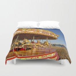 Golden Carousel at the Beach Duvet Cover