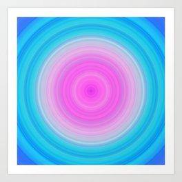Ombre Pink Teal Circles Art Print