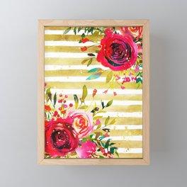 Flowers & Stripes 2 Framed Mini Art Print