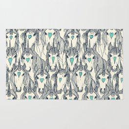 unicorn love indigo mint pearl Rug