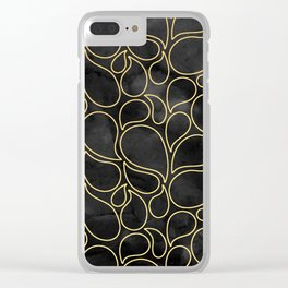 BLACK AND GOLD DROPS MARBLE Clear iPhone Case