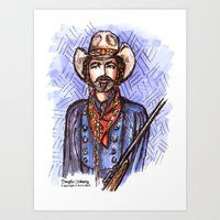 tom selleck Art Prints featuring Quigley Down Under, Tom Selleck Drawing by Douglas Mooney