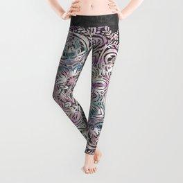 Dreaming Mandala - Magical Purple on Gray Leggings