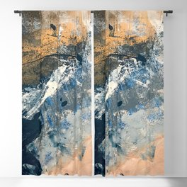 Wander [3]: a vibrant, colorful abstract in blues, pink, white, and gold Blackout Curtain