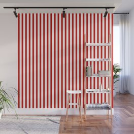 Red & White Maritime Vertical Small Stripes - Mix & Match with Simplicity of Life Wall Mural