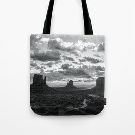 Southwest Wanderlust - Monument Valley Sunrise Black and White Tote Bag