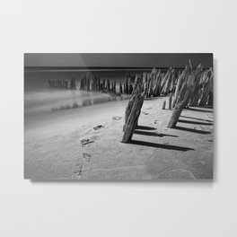 Trail of footprints on the beach at Kirk Park near Grand Haven on Lake Michigan Metal Print