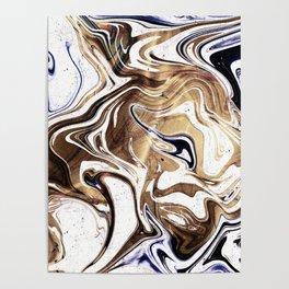 Metallic Gold Purple White Marble Swirl Poster