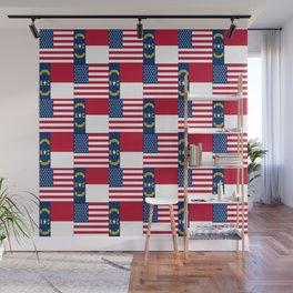 Mix of flag: Usa and north carolina Wall Mural