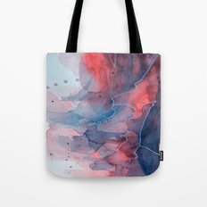 Watercolor shadow red & blue, abstract texture Tote Bag
