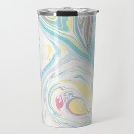 Hand painted abstract green yellow pink teal watercolor marble Travel Mug