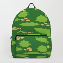Christmas Pattern Red Green Berry Thorns Backpack