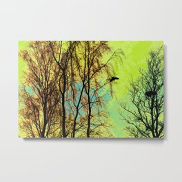 The Bird, the Nest and the Spooky Trees Metal Print