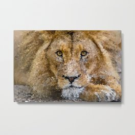 Adult Male Lion Low Poly Geometric Triangles Metal Print