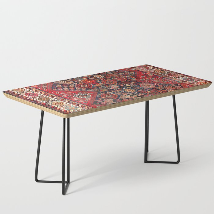 Qashqa'i Fars Southwest Persian Nomad Rug Print Coffee Table